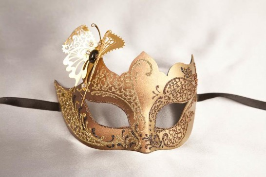 brown gold butterfly ball mask