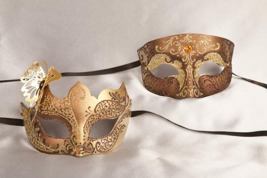 Pair of bronze and gold masquerade masks with butterfly | Tomboy Teresa