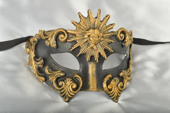Luxury black and bronze mans masquerade mask - Barocco Sole