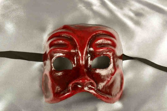Arlecchino Bruno - Rich Red Brown Venetian Nose Masks for Men