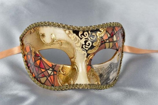 Rust Mask with Venetian Scenes