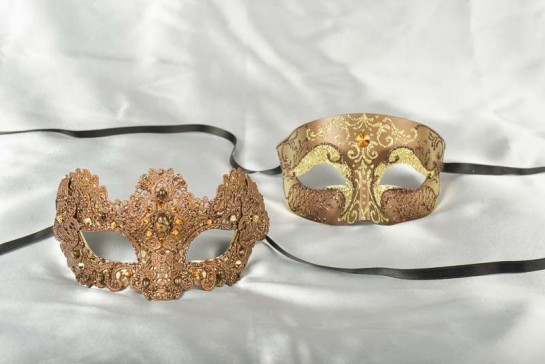 Brown and gold Venetian masks for couples Tomboy Macrame