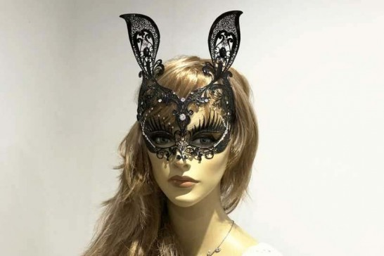 Bunny mask in luxury filigree metal with swarovski crystals on female face