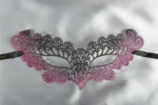 Cerise Burlesque - Ladies Material Lace Masquerade Mask with Colour Glitter