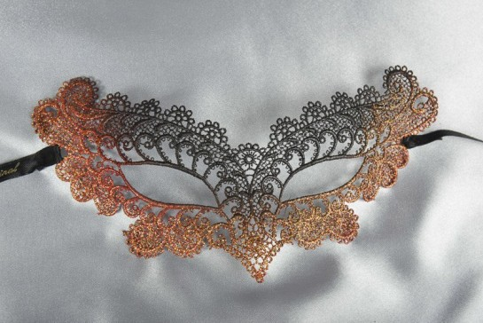 Peach Burlesque - Ladies Material Lace Masquerade Mask with Colour Glitter