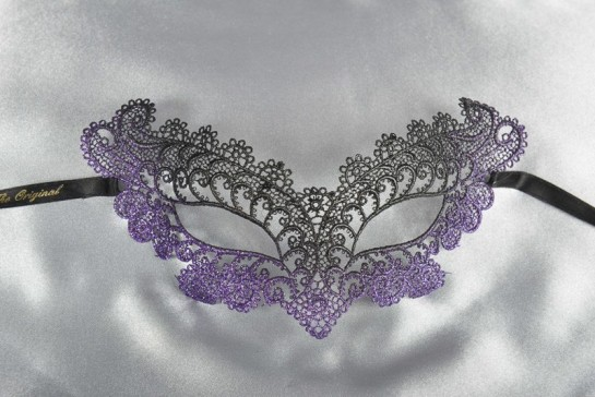 Purple Burlesque - Ladies Material Lace Masquerade Mask with Colour Glitter