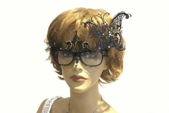Filigree metal masquerade mask attached to glasses - Carina Glass Strass on female model