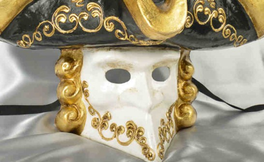 Gold and black Bauta mask with Tricorn hat