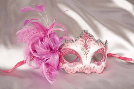 side feather masquerade mask in cerise