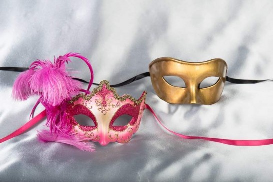cerise gold couples masquerade ball masks