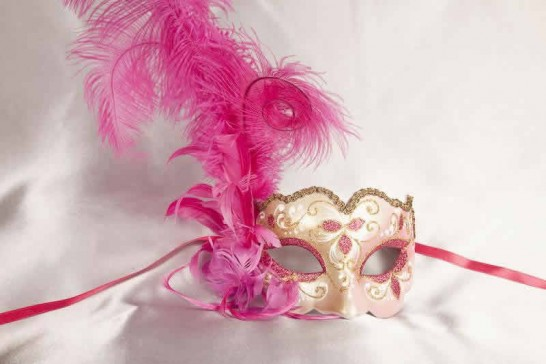 Cerise and gold feathered mask