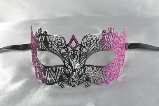 masquerade ball mask laser cut lace in cerise