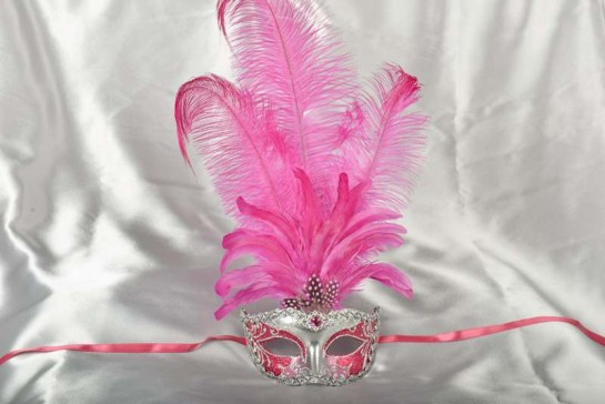 Struzzo Lux Tall centre feathered masquerade mask in silver and fuchsia pink