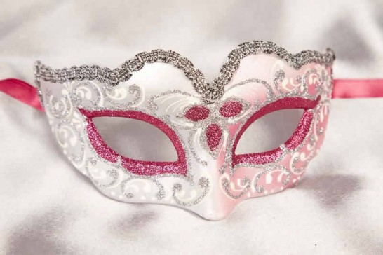 Small masquerade mask Baby Silver in cerise pink