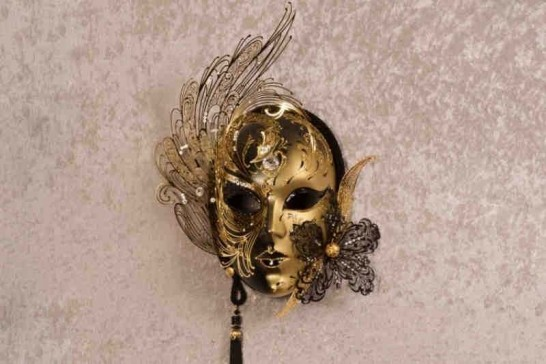 Black Cigna Gold - Luxury Venetian Wall Mask with Swarovski Crystals