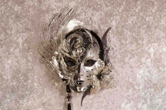 black and silver show home wall mask