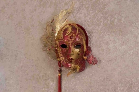 Red Cigna Gold - Luxury Venetian Wall Mask with Swarovski Crystals