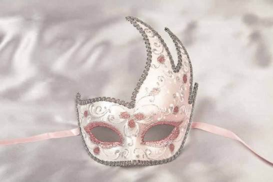 Pink Cigno Fiore Silver - Swan Shaped Carnival Masks