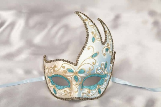 Turquoise Cigno Fiore Gold - Swan Shaped Carnival Masks