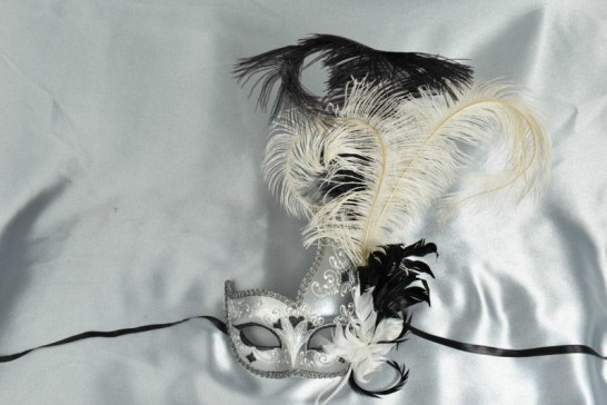 White Cigno Duo Silver - Two Colour Swan Masks with Feathers
