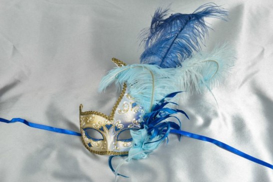 Two colour gold trim feathered ball mask for ladies in blue