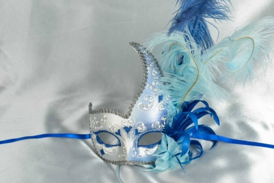 Blue Cigno Duo Silver - Two Colour Swan Masks with Feathers