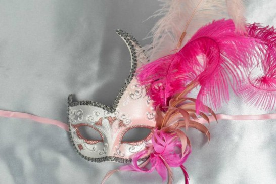 Cerise Cigno Duo Silver - Two Colour Swan Masks with Feathers