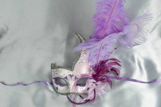 Purple Cigno Duo Silver - Two Colour Swan Masks with Feathers