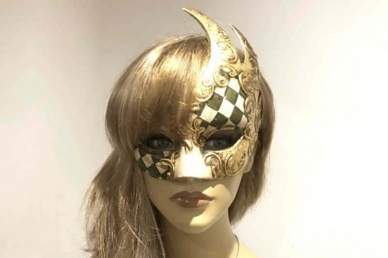 Swan Shaped Masquerade Mask with diamond pattern on female face