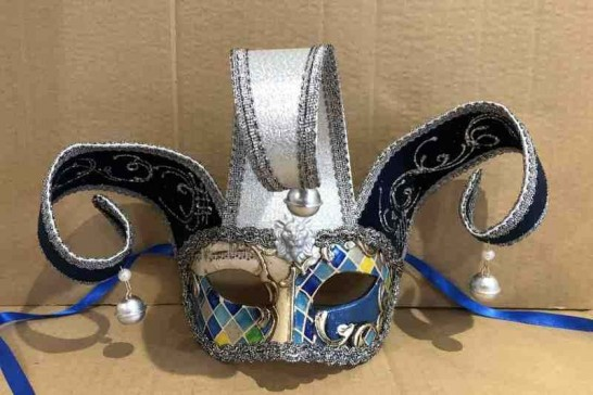 Blue Jolly Jester Mosaic Silver - Colombina Mask with Headdress Pearls and Bells