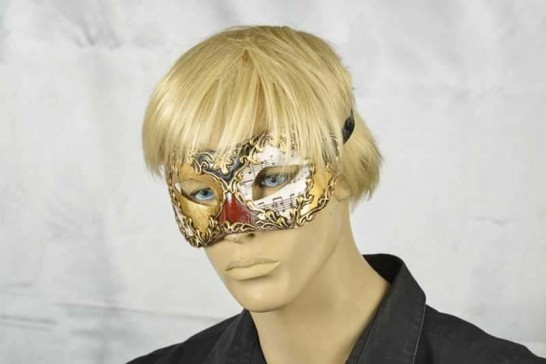 masquerade ball mask Colombina Musica on male model face