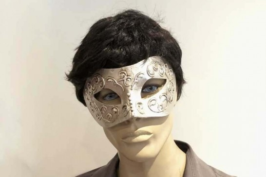 Stucchi silver colombina masquerade mask on male face