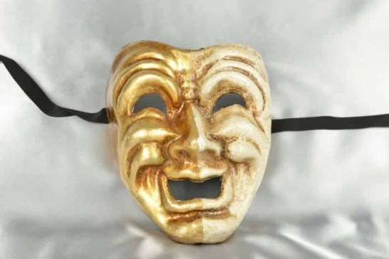 Cream and Gold Comic Happy Laughing Venetian Masks - Ride Gold