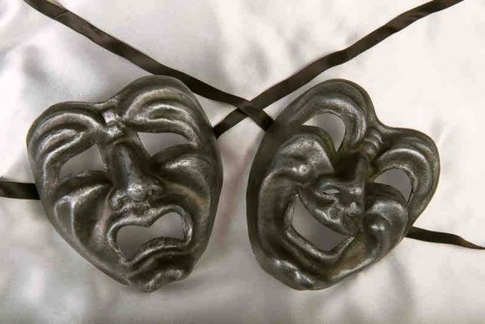 Commedia Tragedia Graphite - Pair of Laughing Crying Theatre Masks