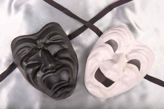 Commedia Tragedia Plain - Black and White Pair of Greek Theatre Happy Sad Masks