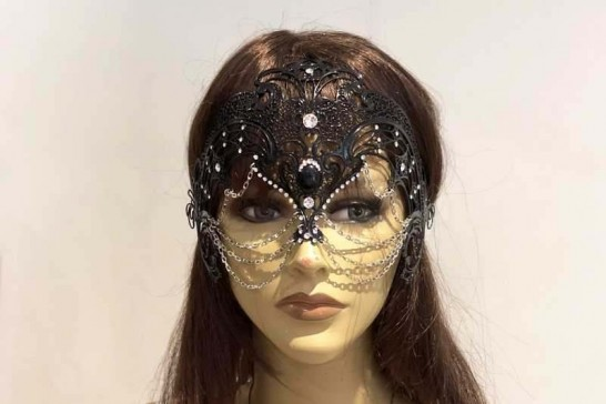 luxury lace metal mask shown on female model face
