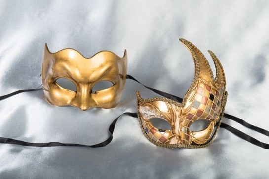 Gold Joker Cigno Plain - Couples Venetian Character Masks