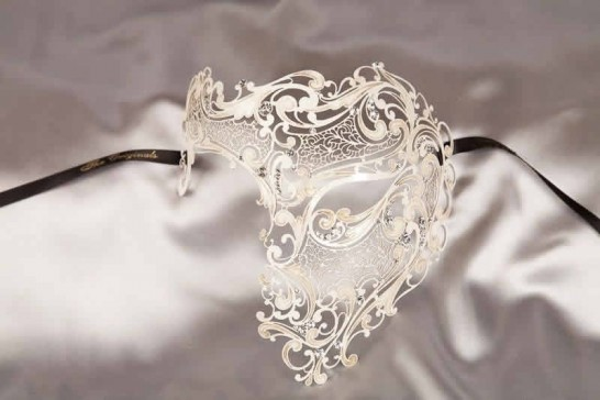 White Fantasma Dell Opera - King or Queen Luxury Filigree Metal Venetian Mask