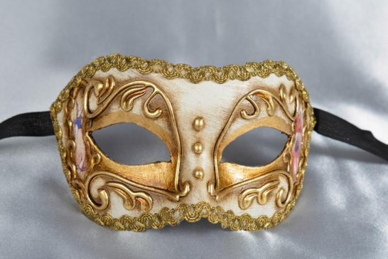 Cream and Gold Colombina mask
