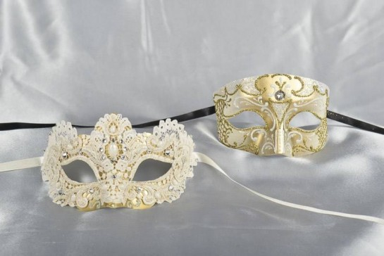 His and Hers cream and Gold Venetian masks - Tomboy Macrame
