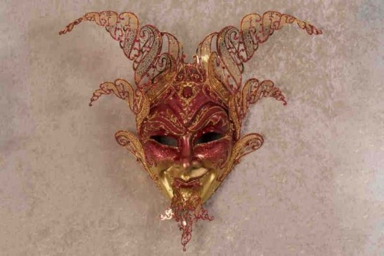 Red Diavolo Gold - Luxury Devil Venetian Wall Mask with Metal Horns