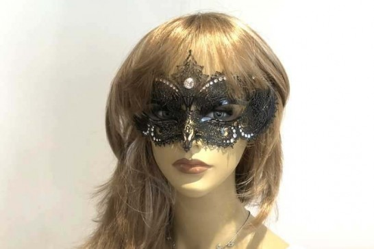 Laser cut lace metal masquerade mask - Elisabetta on Female face