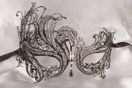 Black Leda Lux - Luxury Unisex Filigree Metal Mask with Crystals