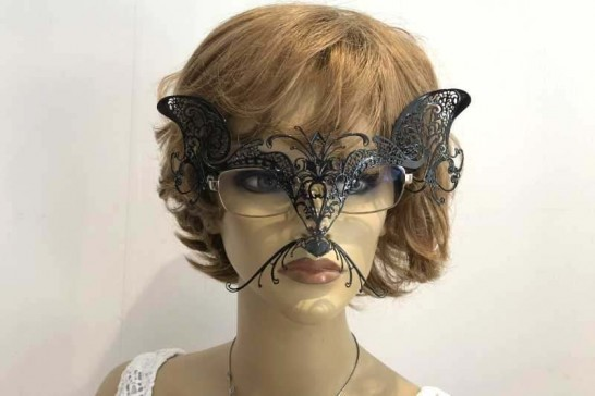 Masquerade masks for glasses Gatto Cat shown on womans spectacles