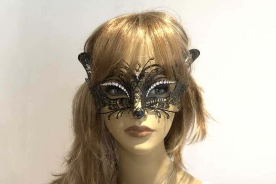 Gatto Lux - Luxury Metal Cat Mask with Crystals
