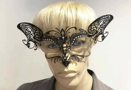 Cat mask for glasses wearers attached to mans spectacles