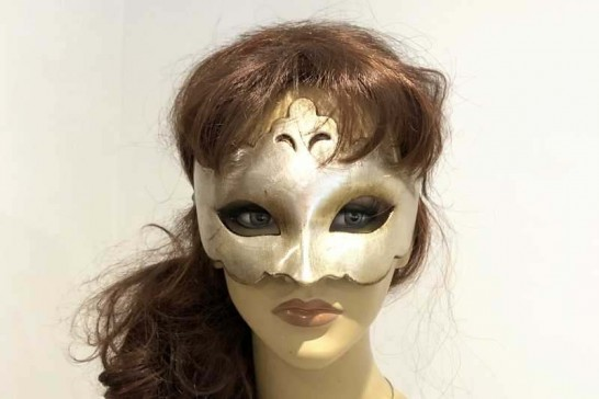 Plain and simple carnival masquerade mask on female face