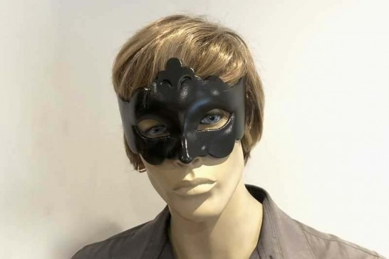 black budget masquerade ball mask - Giglio on male face