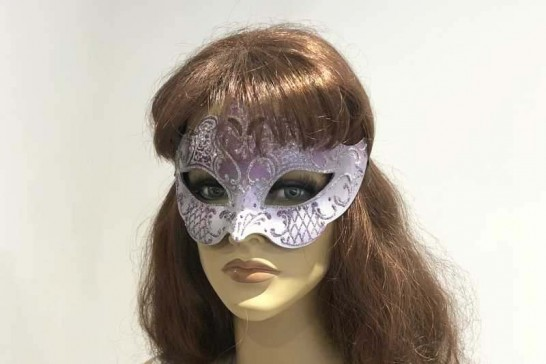 Tiara shaped masquerade mask in silver shown on female face