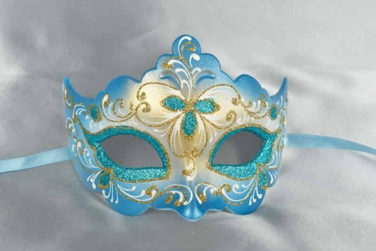 Turquoise ball mask - Giglio Fiore Gold